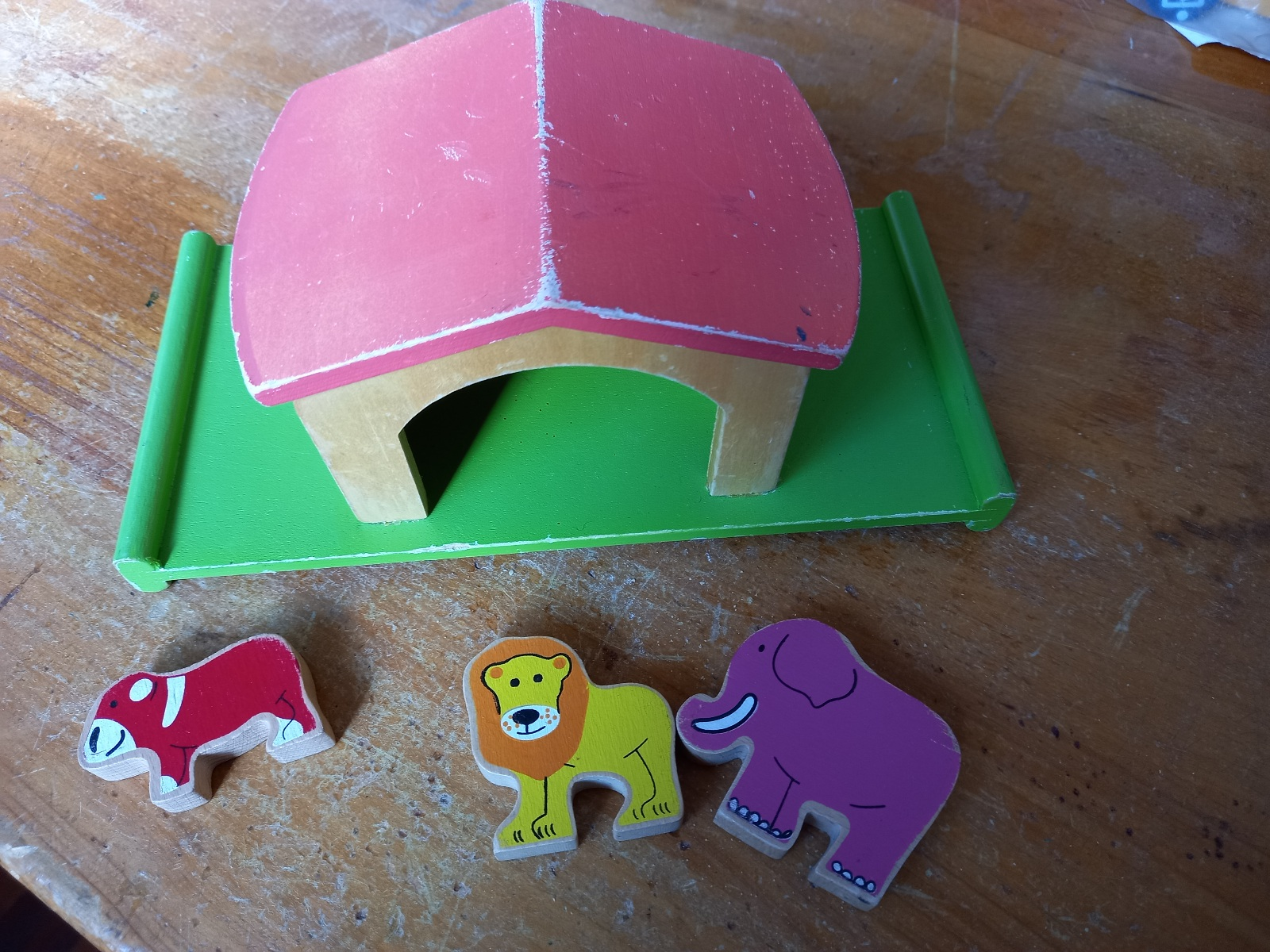 wooden stable with animals